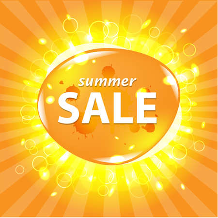 sales representative: Orange Summer Sale Poster With Bokeh, Vector Illustration