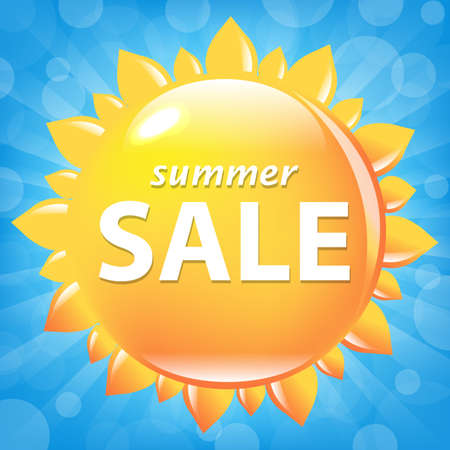 Summer Sale Poster With Sun, Vector Illustration