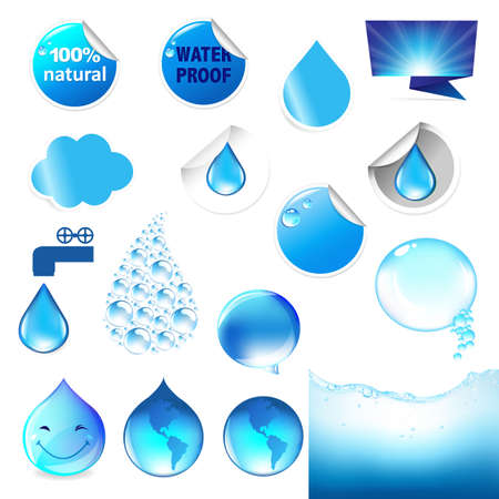 proofs: Water Symbol Big Set, Isolated On White Background, Vector Illustration