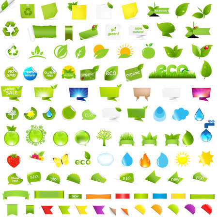 Big Nature And Eco Set With Labels, Isolated On White Background, Vector Illustration Vector