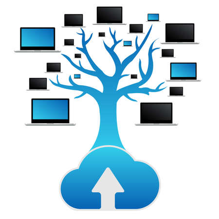 remote access: Cloud Computing Tree, Isolated On White Background, Vector Illustration