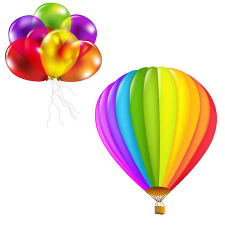 hot air ballon: Color Balloons Set, Isolated On White Background, Vector Illustration Illustration