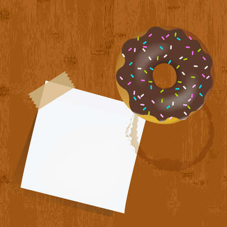 Empty Reminder With Chocolate Donuts, Vector Illustration  Vector