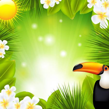 toucan: Green Background With Tropical Elements, Vector Illustration
