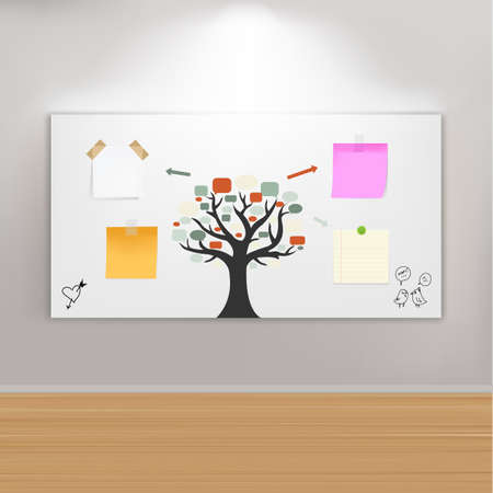 Paintings Frame On Wall With Reminders, Vector Illustration  Vector