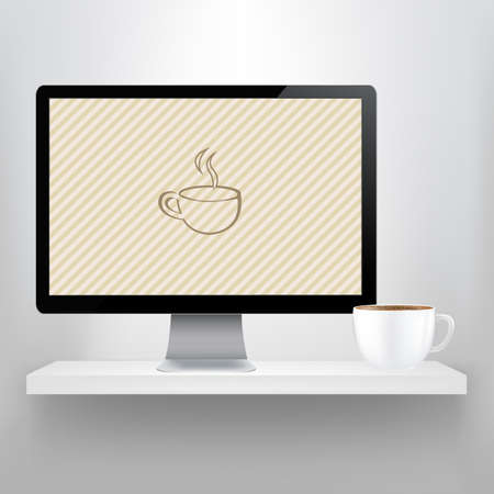 mocca: Shelf With Computer And Cup Of Coffee, Vector Illustration Illustration