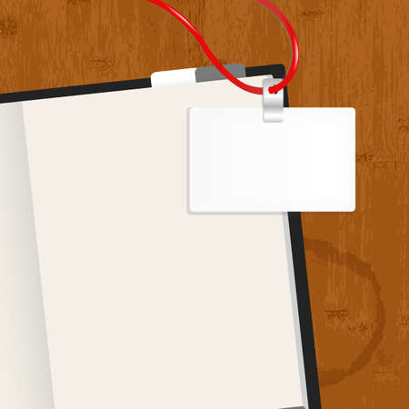 open notebook: Wooden Table With Dairy And Badge, Vector Illustration
