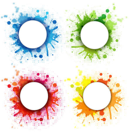 grungy header: 4 Abstract Bubble With Blobs Set, Isolated On White Background, Vector Illustration
