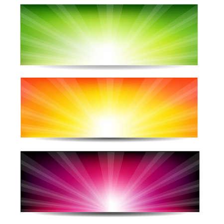 banner website: 3 Color Sunburst Banners, Geà ¯ soleerd Op Witte Achtergrond, Vector Illustratie