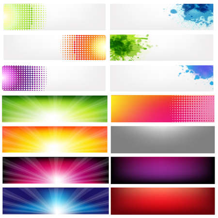 Big Set Abstract Banners, Isolated On White Background, Vector Illustration