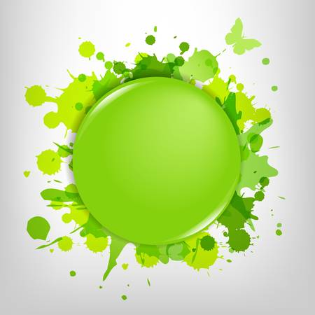Green Glass With Green Blots, Isolated On White Background, Vector Illustration Ilustrace