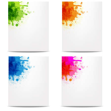 grungy header: 4 Banners With Color Blob, Isolated On White Background, Vector Illustration