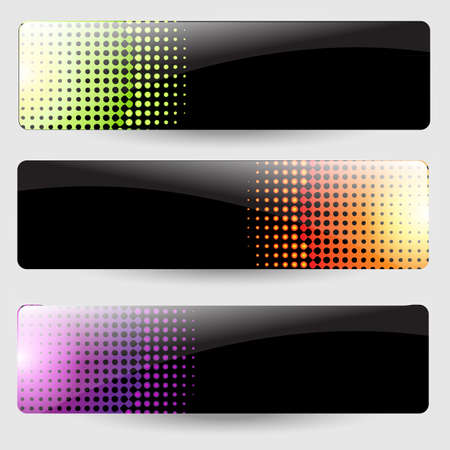halftone: 3 Abstract Black Banners, Isolated On Grey Background,  Illustration