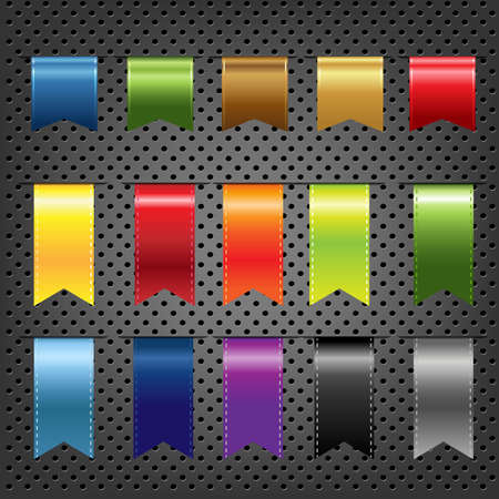 bookmark ribbon: Abstract Metal Background With Ribbons Set