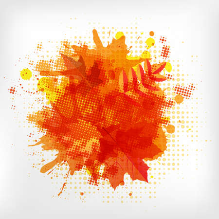 Abstract Orange With Blobs Autumn Leafs, Isolated On White Background Vector