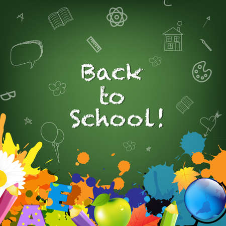 Back To School Poster, Isolated On Green Background Vector