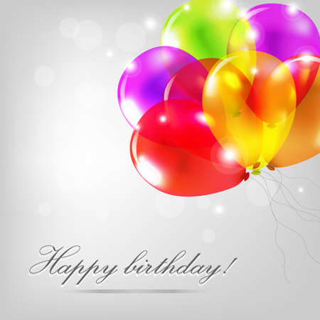 translucent: Birthday Card With Color Balloons, Illustration