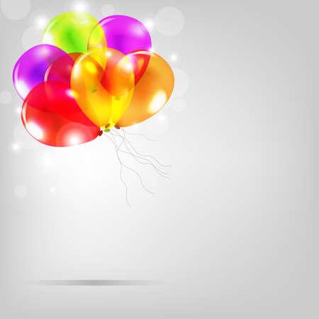 Tarjeta de cumpleaños con globos de colores, Ilustración Ilustración de vector