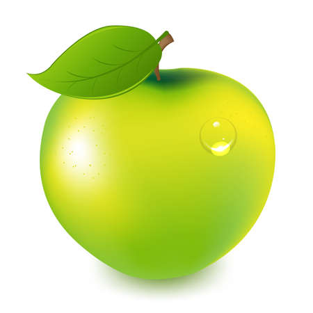 big apple: Green Apple With Water Drop, Isolated On White Background
