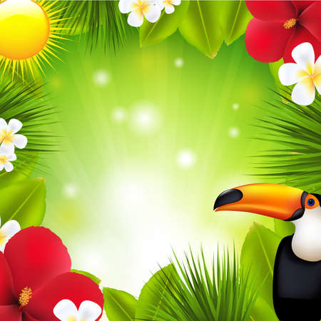 toucan: Green Background With Tropical Elements And Flowers Illustration
