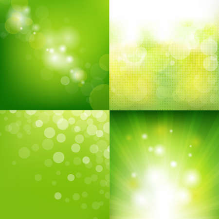 4 Green Eco Background With Blur Stock Vector - 15486578