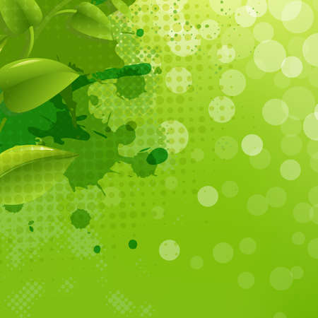 Green Nature Background With Blur Blob And Leaf,Illustration Stock Vector - 15069698