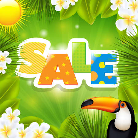 banana sheet: Green Sale Poster With Tropical Elements Illustration