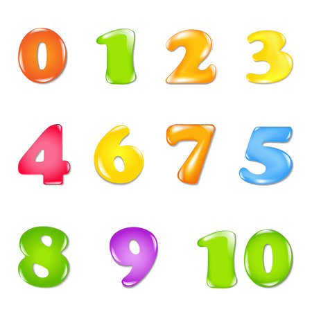 Number Set, Isolated On White Background Vector