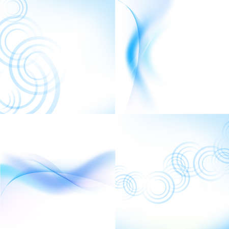 air flow: 4 Pastel Blue Backgrounds With Blur Illustration