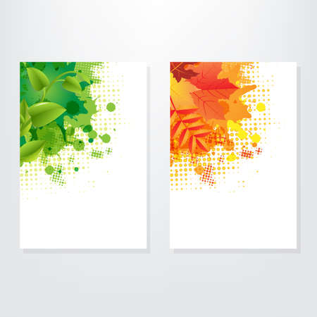 Set Card Wit Leaf, Isolated On Grey Background Stock Vector - 15486587