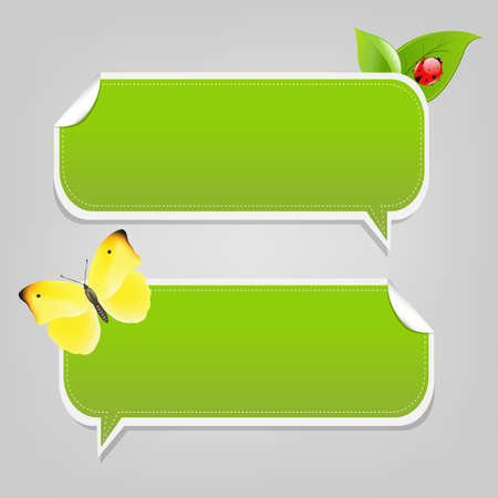 Set Nature Speech Bubble Frames, Isolated On White Background Vector