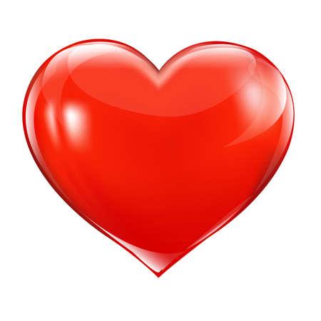 Gran corazón rojo, aislado en fondo blanco