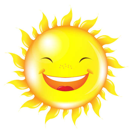 Cartoon Sun, Isolated On White Background Vector