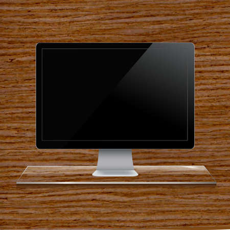 Glass Shelf With Computer, Wood Background Vector