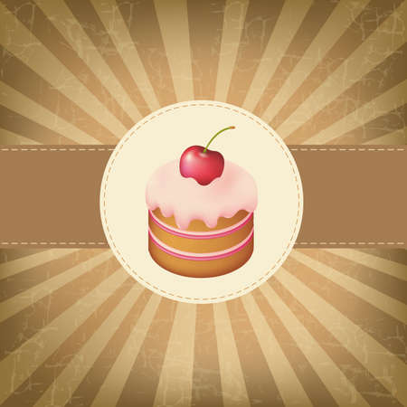 Retro Label With Cupcake With Vintage Background Stock Vector - 15307560