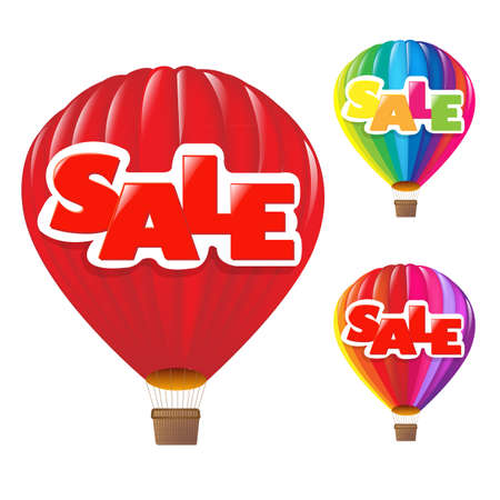 3 Sale Air Balloon, Isolated On White Background Vector