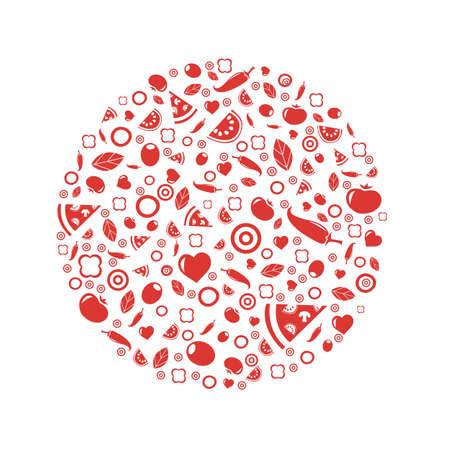 parmigiano: Sfera Da Pizza Icone, isolato su sfondo bianco