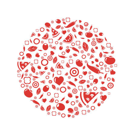 eats: Sphere From Icons Pizza, Isolated On White Background Illustration