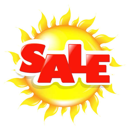 Sun Poster Sale, Isolated On White Background Vector