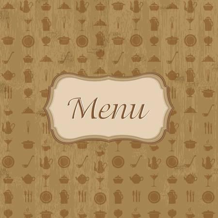 ladle: Vintage Wood Background With Menu