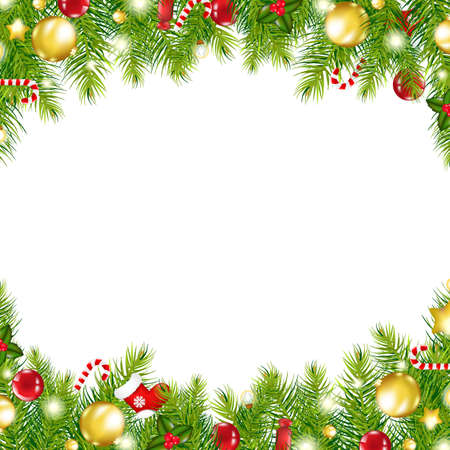 december: Christmas Vintage Border, Isolated On White Background Illustration