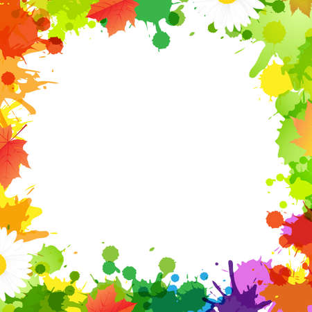 Frame With Blob And Leaves Vector