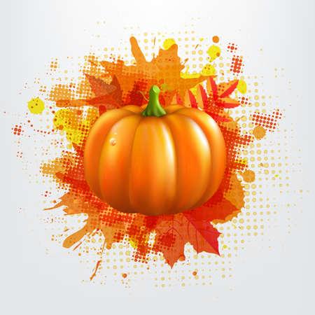 pumpkin border: Grunge Background With Orange Pumpkin And Leaves Illustration