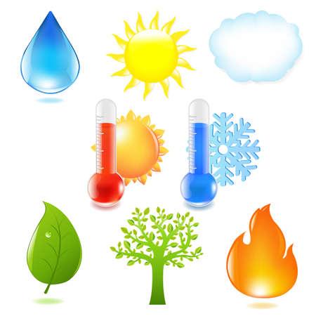 hot temperature: Naturaleza Eco Conjunto, aislado en fondo blanco, Vector Illustratio Vectores