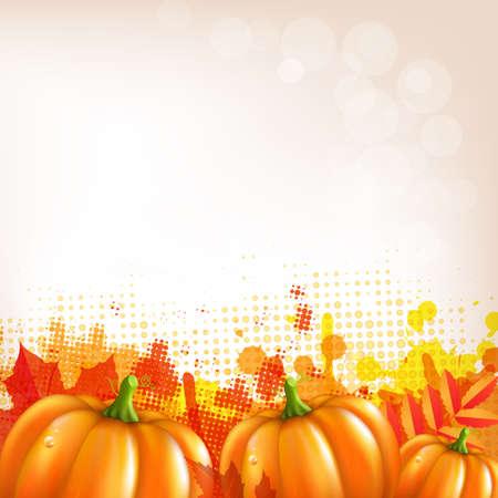 Orange Autumn Leafs And Pumkins Border