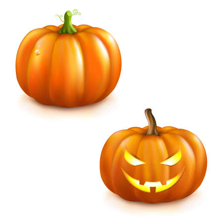 2 Pumpkins For Halloween, Isolated On White Background Royalty Free ...