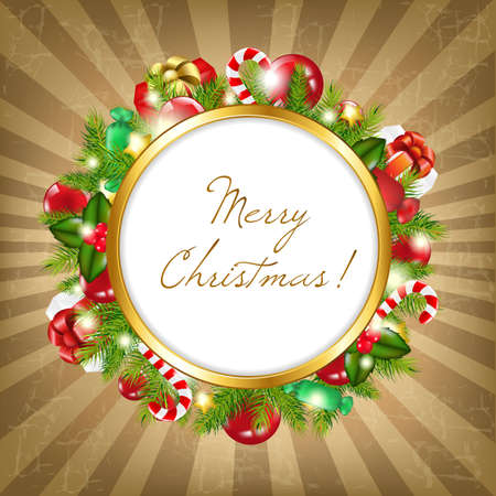 Merry Christmas Frame With Vintage Background, Illustration Vector