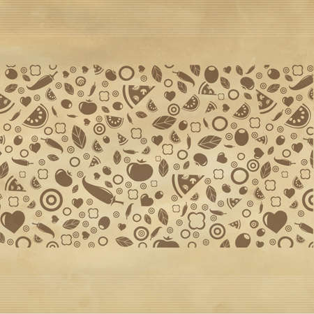 Vintage Restaurant Background With Icons, Illustration Vector