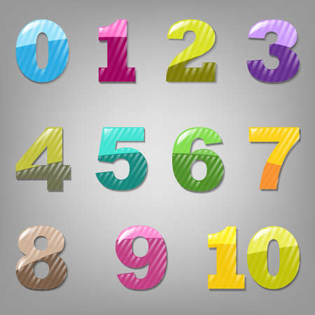 six objects: 11 Cartoon Numbers, Isolated On White Background, Vector Illustration
