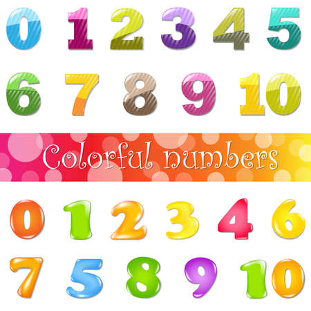 Big Cartoon Numbers Set, Isolated On White Background, Illustration  Vector